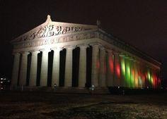 The Parthenon at night. Centennial Park