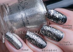 (KBShimmer silver flakes, l-r) Foiled ; R-E-F-L-E-C-T ; That's Ore Like It ; Sterling Example ; 5/16/15