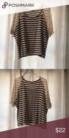 Torrid Striped 3/4 Sleeve Top w/ Crotchet Sleeves Torrid Striped 3/4 Sleeve Top w/ Crotchet Sleeves. Torrid Size 3. torrid Tops Blouses