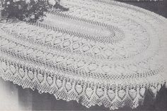 "Oval pineapple tablecloth pattern free | RARE~VHTF~Oval Pineapple Tablecloth Crochet Pattern 60"" x 80"" - Home ..."