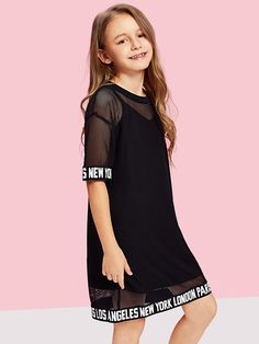 Girls Letter Hem Mesh Sheer Dress – Kidenhouse Source by kidenhouse Dresses Girls Fashion Clothes, Kids Outfits Girls, Cute Girl Outfits, Tween Fashion, Cute Outfits For Kids, Teen Fashion Outfits, Girly Outfits, Cute Casual Outfits, Teenager Outfits