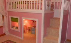 playhouse with loft bed on top