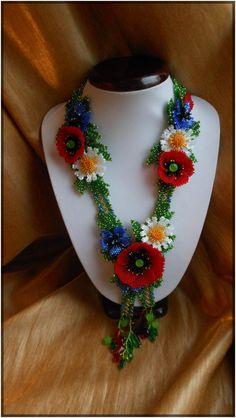 Summer flowers in the field Ukrainian от BeadedJewelryVirunia