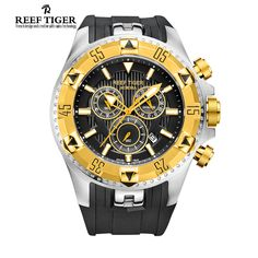 Reef Tiger/RT Men Sports Quartz Watches with Chronograph and Date Big Dial Super Luminous Steel Yellow Gold Stop Watch RGA303