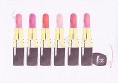 Multiple Chanel Lipsticks fashion illustration by RKHercules | Watercolor Art, Fashion Art, Wall Art, Art Print on Etsy, $7.50