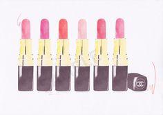 Multiple Chanel Lipsticks fashion illustration by RKHercules   Watercolor Art, Fashion Art, Wall Art, Art Print on Etsy, $7.50