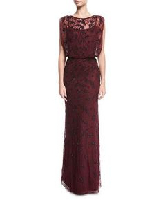 AIDAN MATTOX LACE BEADED BLOUSON EVENING GOWN. #aidanmattox #cloth #