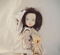 Beatrice and toys, commissioned Art dolls.