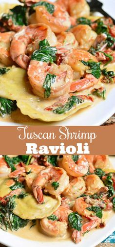 Creamy Tuscan Shrimp Ravioli. Easy and comforting dinner that takes less than 30 minutes to prepare. Juicy shrimp is cooked with garlic, spinach, sun-dried tomatoes, and cream. #shrimp #ravioli #dinner #seafood #easydinner #30minute Shrimp Recipes For Dinner, Seafood Dinner, Ravioli Dinner Ideas, Shrimp And Spinach Recipes, Spinach Shrimp Pasta, Spinach Dinner Recipes, Garlicky Shrimp, Shrimp Dip, Italian Dinner Recipes