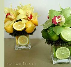 I like the 1/2 fruits in the arrangement looks cute!