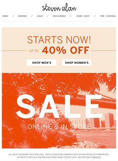 Steven Alan Sale email. Nice Sale graphic.