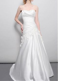 WEDDING GOWN WITH HANDMADE FLOWERS SEXY LADY IVORY WHITE LACE FORMAL PROM COCKTAIL EVENING PARTY BRIDESMAID