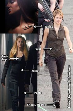 Costume Guide - Dress up as Tris, including her raven tattoos. Want to dress up as the Dauntless? Think black. Dauntless faction fashion is basically modern military with a touch of rock star. Tris Tattoo, Divergent Tattoo, Divergent Funny, Divergent Trilogy, Dauntless Tattoo, Divergent Costume, Divergent Outfits, Fandom Outfits, Movie Character Costumes