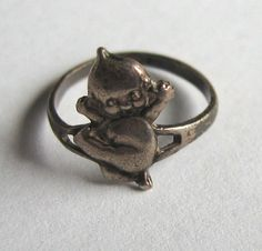 1920's sterling silver Kewpie doll ring. Paye and Baker, Rose O'Neill. Vintage Baby ring
