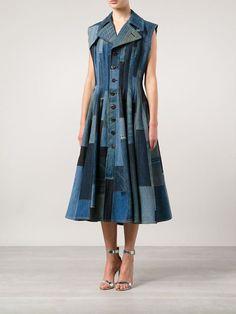 Junya Watanabe Comme Des Garçons Patchwork Flared Denim Dress - - Farfetch.com