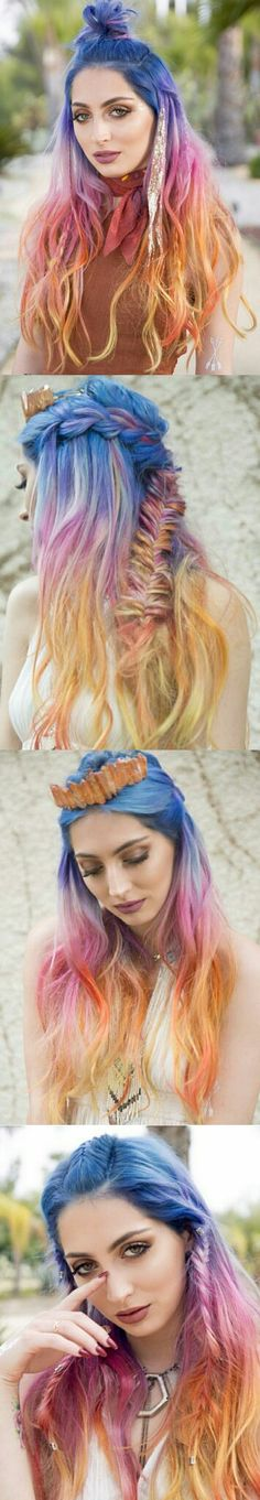Nails Blue Orange Hair Colors New Ideas Bright Hair Colors, Hair Color Pink, Colorful Hair, Pelo Multicolor, Color Fantasia, Coloured Hair, Unicorn Hair, Dye My Hair, Pastel Hair