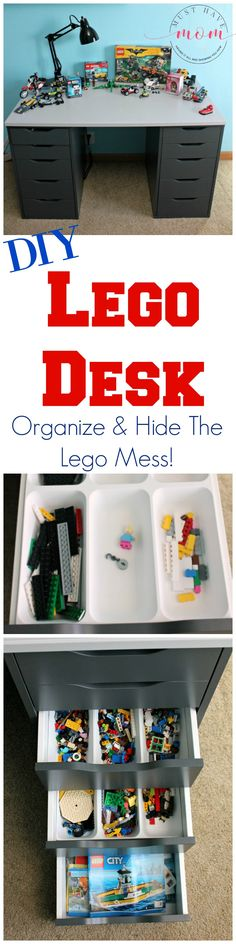 Easy DIY Lego Desk to hide and organize legos! This ikea hack turns a desk into a lego building mecca!