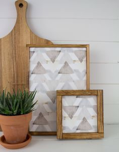 Handmade Watercolor Triangle Art - Two pc Gallery Wall Frames Set of Salvaged Wood with neutral gray watercolor triangle pattern by TeamSuttonDesigns on Etsy