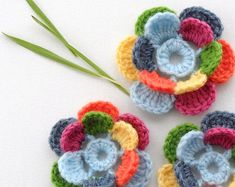 Crochet Applique Multicolored Flower Pansy by CraftsbySigita