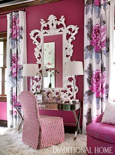 This showhouse dressing room design is awash in fuchsia and floral. - Photo: Emily Jenkins Followill / Design: Bryan Alan Kirkland