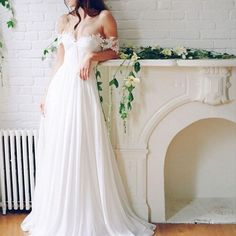 2017 Popular Off Shoulder Long A-line White Chiffon Sexy Lace Wedding Dresses #weddingplanning #weddingwednesday #bride