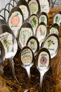 DIY Recycled Spoon Garden Markers- WHAT? I was looking at Garden Markers at Palmers last week; now it's looking for a project to start, and this is calling my name. Thrift stores, and herb garden, here comes my coin collection.- gotta make these!