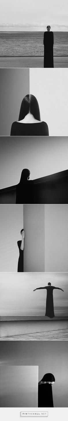 "The Minimalist B&W Self-Portraits of Noell Oszvald / Noell Oszvald is a 25-year-old visual artist from Budapest, Hungary. ""I'm not a photographer,"" she says, but she does use a camera to create her art. / Photography / Black and White / Minimalism / Minimalist / Portrait / Fashion / Seven Seal / Ideas / Inspiration / Beach / Composition / Simetry"