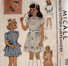 Vintage 1940s Girls Dress Pattern McCall 1028 Size 4 Wartime Pattern Uncut. $12.00, via Etsy.