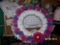 diaper wreath pretty in pink/purple