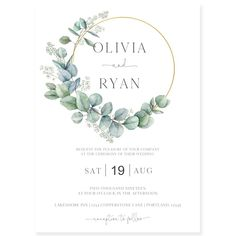 Eucalyptus Wreath Wedding Invitation | Forever Your Prints