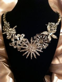Dazzling rhinestone cluster upcycled vintage by MissingPieceFound, $59.00