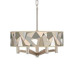 Modern Mosaic I Ava 6-Light Nickel Pendant Chandelier