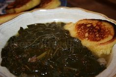 Southern Seasoned Collard Greens made with Ham Hocks and Hoecakes