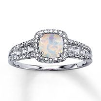 Sterling Silver Lab-Created Opal & Lab-Created Sapphire Ring $99.99