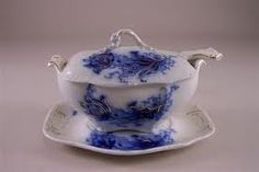 Johnson Brothers flow blue sauce tureen and underplate floral pattern