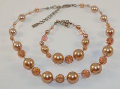 Beige Set Pearls Necklace and bracelet-Beige by FrankaStoneJewelry
