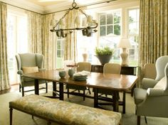 A bench, traditional chairs and a chair that might be thought of in a living room make this dining room fresh! Furniture, Dining Nook, Interior, Home, Living Room Flooring, Dining Room Updates, Dining Room Seating, Dining Room Decor, Studio Furniture