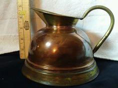 Vintage WebaWare Copper & Brass Bathroom Water Pitcher England Metalware Wash