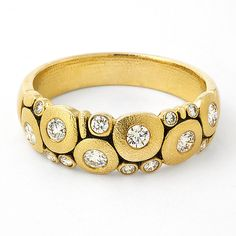 """R-122D: 18k yellow gold, and diamond """"Candy"""" ring finger size 7 (resize…"""