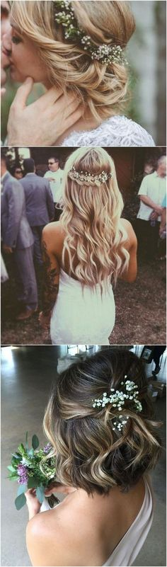 romantic wedding hairstyles with baby's breath