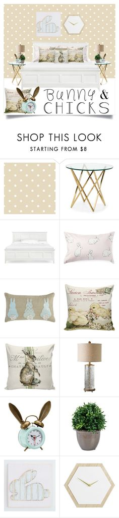 """Easter Bedroom"" by karolineacc ❤ liked on Polyvore featuring interior, interiors, interior design, home, home decor, interior decorating, David Jones, Pier 1 Imports, Improvements and PBteen"
