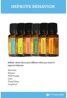 You can make a homemade natural Improve Behavior Blend using doTERRA essential oil. Just follow this simple recipe: Improve Behavior Blend Recipe Diffuse these oils in your diffuser when you want to improve behavior. Elevation Balance Wild Orange Lime Ylang Grapefruit This recipe was taken from doTERRA's Living Magazine (Page 25) and we do not own the …