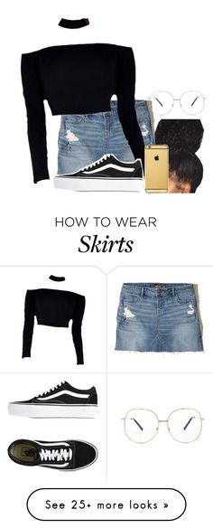 """Denim skirt"" by asvpkateee on Polyvore featuring Hollister Co., Vans and Forever 21"