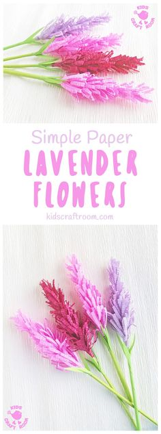 Have you tried making paper flowers? These gorgeous Lavender Flowers look so realistic and are surprisingly simple to make! They're perfect for Mother's Day, to stick to greeting cards or gifts and even for imaginative play! (We like to squirt them with perfume for little gardeners and florists to play with, so fun!) #mothersday #papercrafts #flowercrafts #kidscrafts #forkids #craftsforkids #springcrafts #summercrafts #lavender #lavendercrafts #flowers #homemadeflowers via @KidsCraftRoom