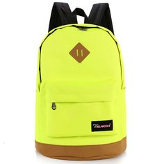 Solid color canvas casual backpack yellow