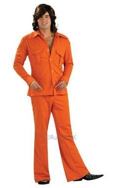 SALE! Adult 70's Orange Disco Leisure Suit Mens Fancy Dress Party Costume Outfit