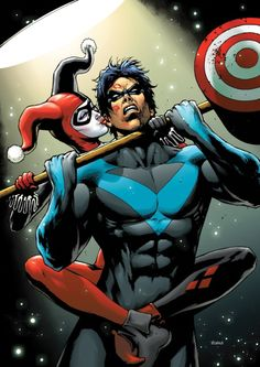 Harley Quinn and Nightwing by Wayne Nichols