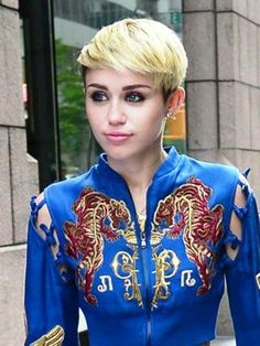 Miley Cyrus Short Hair.  This is a bit of a calmer look for her, if you will.
