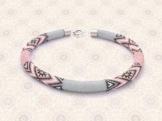 Bead Crochet Necklace Coral Peach by Chudibeads on Etsy, $90.00
