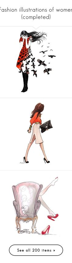 """""""Fashion illustrations of women (completed)"""" by sjk921 ❤ liked on Polyvore featuring sketch, people, drawings, backgrounds, birds, fillers, sketches, doodles, quotes and text"""